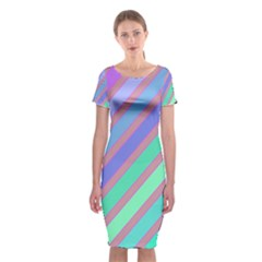 Pastel colorful lines Classic Short Sleeve Midi Dress