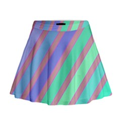 Pastel colorful lines Mini Flare Skirt