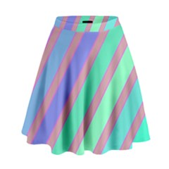 Pastel Colorful Lines High Waist Skirt
