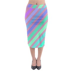Pastel Colorful Lines Midi Pencil Skirt