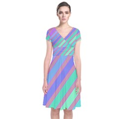 Pastel Colorful Lines Short Sleeve Front Wrap Dress