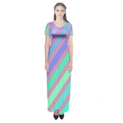 Pastel Colorful Lines Short Sleeve Maxi Dress