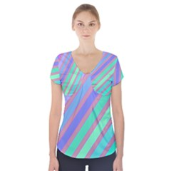 Pastel Colorful Lines Short Sleeve Front Detail Top