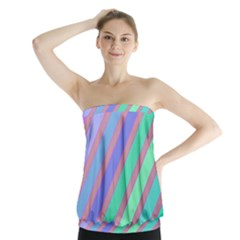 Pastel Colorful Lines Strapless Top