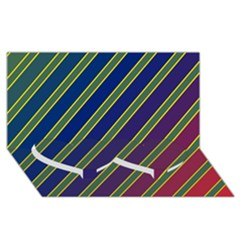 Decorative lines Twin Heart Bottom 3D Greeting Card (8x4)