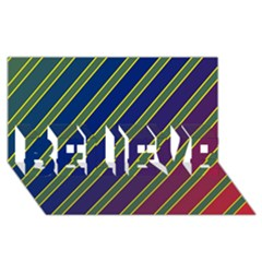 Decorative lines BELIEVE 3D Greeting Card (8x4)