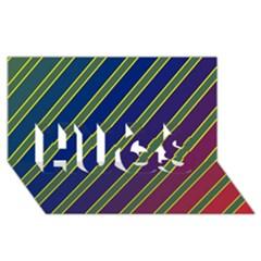 Decorative lines HUGS 3D Greeting Card (8x4)
