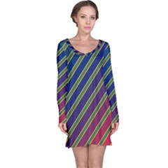 Decorative lines Long Sleeve Nightdress