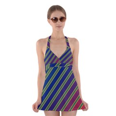 Decorative Lines Halter Swimsuit Dress