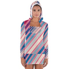 Colorful Lines Women s Long Sleeve Hooded T Shirt