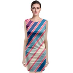 Colorful Lines Classic Sleeveless Midi Dress
