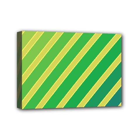 Green and yellow lines Mini Canvas 7  x 5