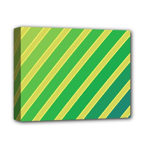 Green and yellow lines Deluxe Canvas 14  x 11