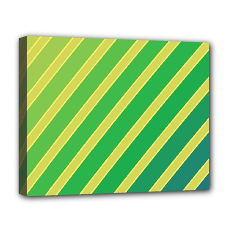 Green and yellow lines Deluxe Canvas 20  x 16