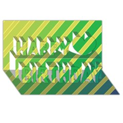 Green and yellow lines Happy Birthday 3D Greeting Card (8x4)