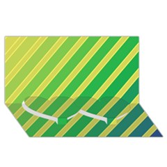 Green and yellow lines Twin Heart Bottom 3D Greeting Card (8x4)