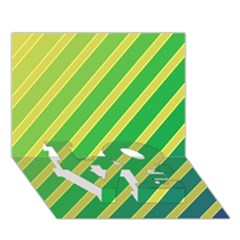 Green and yellow lines LOVE Bottom 3D Greeting Card (7x5)