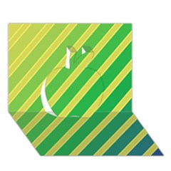 Green and yellow lines Apple 3D Greeting Card (7x5)