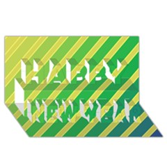 Green and yellow lines Happy New Year 3D Greeting Card (8x4)