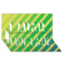 Green And Yellow Lines Laugh Live Love 3d Greeting Card (8x4)