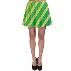 Green and yellow lines Skater Skirt