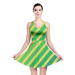 Green and yellow lines Reversible Skater Dress