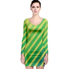 Green and yellow lines Long Sleeve Bodycon Dress