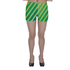 Green and yellow lines Skinny Shorts