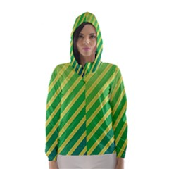 Green and yellow lines Hooded Wind Breaker (Women)