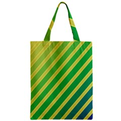 Green and yellow lines Zipper Classic Tote Bag