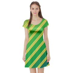 Green and yellow lines Short Sleeve Skater Dress