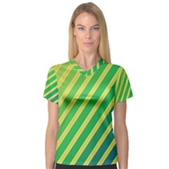 Green and yellow lines Women s V-Neck Sport Mesh Tee
