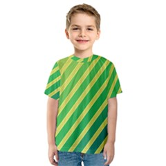 Green And Yellow Lines Kid s Sport Mesh Tee