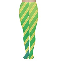 Green and yellow lines Women s Tights