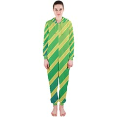 Green and yellow lines Hooded Jumpsuit (Ladies)