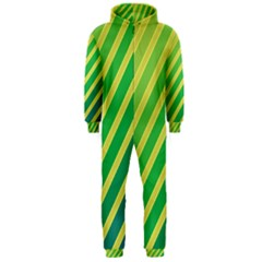 Green and yellow lines Hooded Jumpsuit (Men)
