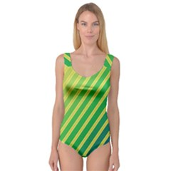 Green And Yellow Lines Princess Tank Leotard