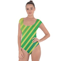 Green and yellow lines Short Sleeve Leotard