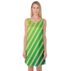 Green and yellow lines Sleeveless Satin Nightdress