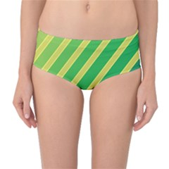 Green and yellow lines Mid-Waist Bikini Bottoms