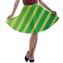 Green and yellow lines A-line Skater Skirt