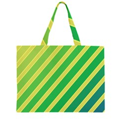 Green and yellow lines Large Tote Bag