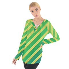 Green And Yellow Lines Women s Tie Up Tee
