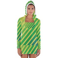 Green and yellow lines Women s Long Sleeve Hooded T-shirt
