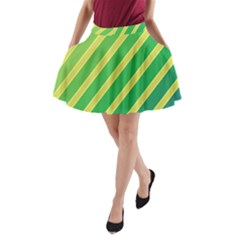 Green And Yellow Lines A Line Pocket Skirt