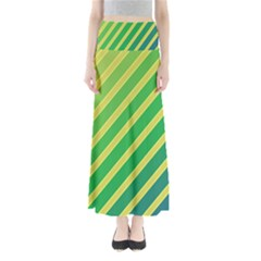 Green and yellow lines Maxi Skirts
