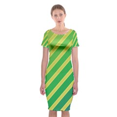 Green And Yellow Lines Classic Short Sleeve Midi Dress