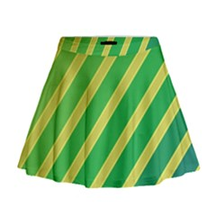 Green And Yellow Lines Mini Flare Skirt