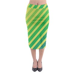 Green And Yellow Lines Midi Pencil Skirt