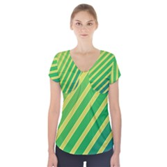 Green And Yellow Lines Short Sleeve Front Detail Top